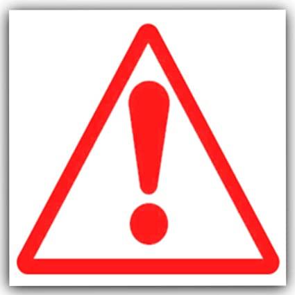 Simbolo di pericolo, colore: rosso su bianco, autoadesivo, confezione da 6 pezzi: Amazon.it: Fai da te